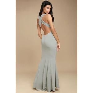 Lulu's Cross Back Mermaid Grey Dress